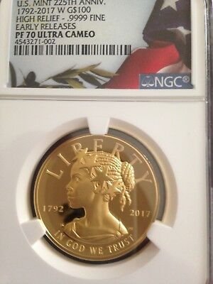 U.S. Mint 225th Anniversary 2017 W Gold High Relief NGC Proof 70 NO RESERVE !!!