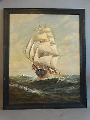 Antique CLIPPER SHIP on SEA Old HH HOWE MARITIME Nautical SEASCAPE Oil PAINTING