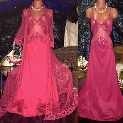 Vintage Victorian Chiffon Mesh Lace Sweep Gown Robe Peignoir Set S