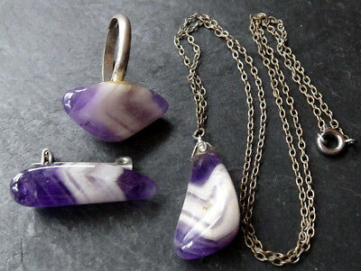 vintage purple agate pebble stainless steel ring necklace brooch set 1970s -C786