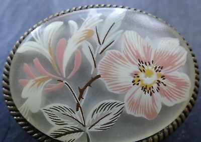 vintage pink flower painted lucite gold tone scarf ring clip -30