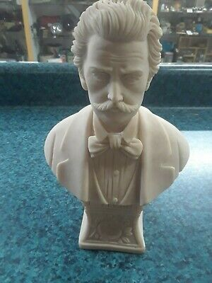 """Vtg Italy A.l. Faro Designed J. Strauss Composer Bust Statue Figure 10"""" T Faux"""