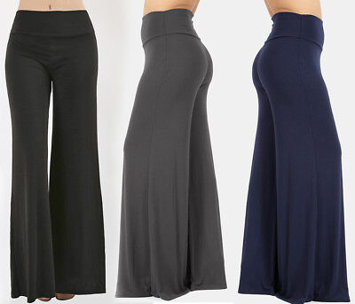 Solid Colors LONG Premium Knit Palazzo Wide Leg Pants Fold Over High Waisted