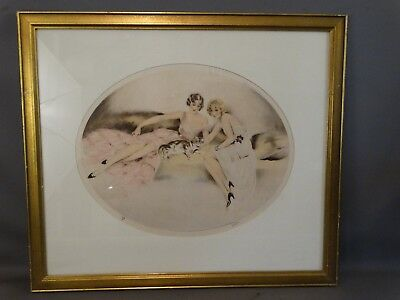 1934 Antique ART DECO Lounging LADY Kitty CAT Old VICTOR Camila Luca LITHO Print