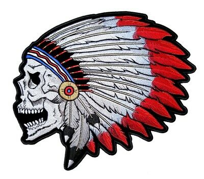 Native American Indian Skull W Feathers Headdress Embroidered Biker Patch