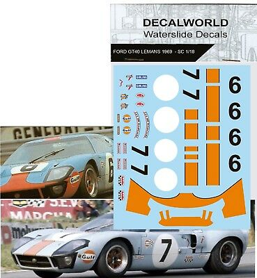 Waterslide Decals Ford Gt40 Lm Gulf 1969 #6 #7  Calcas 1/18 - 1/24 - 1/32 - 1/43