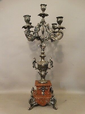 LG Antique 19thC Floral LOUIS XVI Marble & Bronzed CANDELABRA Old CANDLESTICK