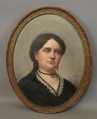Antique 19thC Ghostly VICTORIAN LADY Mixed EYE Color OVAL Old PORTRAIT PAINTING