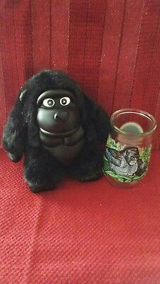 Vintage Welch's Jelly Glass Mountain Gorilla With Plush Gorilla
