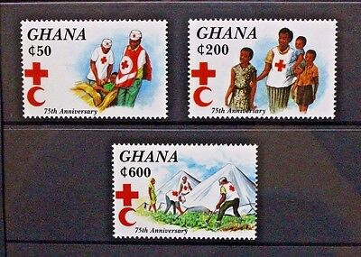 GHANA 1994 Red Cross 75th Anniversary. Set of 3. Mint Never Hinged. SG2066/2068.
