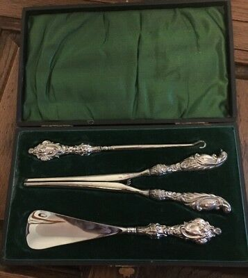 Cased Composite Silver Hallmarked Button Hook,shoehorn & Glove Stretchers