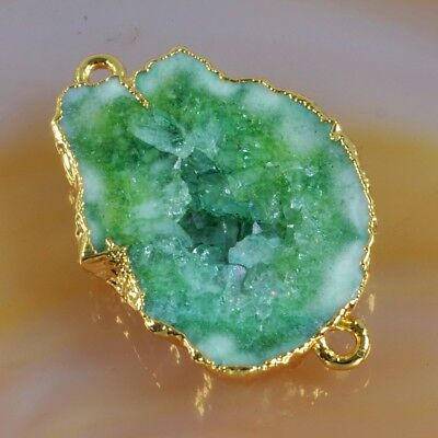 Green Agate Druzy Geode Slice Connector Gold Plated B057071
