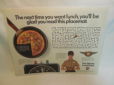 Pizza Hut Placemat. 5 Minute Lunch.Vintage 1987