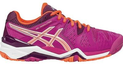 Womens Ladies asics Gel Resolution 6 Tennis Court Shoes Trainers Size 8  eur 42