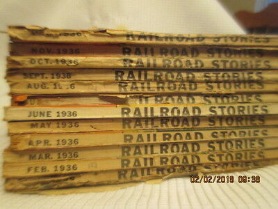LOT of 12 FULL YEAR 1936 Vintage Railroad Magazine Issues Train Stories Pulp RR