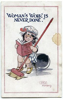 Postcard COMIC VWS Flanders Womans Work Is Never Done 1919