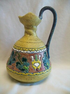 ART NOUVEAU AMPHORA POTTERY CZECH JUG VASE c1919 ENAMELED CZECHOSLOVAKIA ANTIQUE