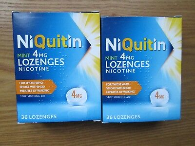 NiQuitin 4mg Nicotine Lozenges (Mint) 2 Packs of 36  -NEW + BOXED (410)