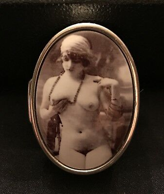 Enamel antique style sterling silver erotica pill box brand new, black and white