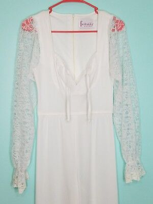 Vintage Fredericks of Hollywood 70s White Jumpsuit Lace Sheer Sexy Cosplay VTG