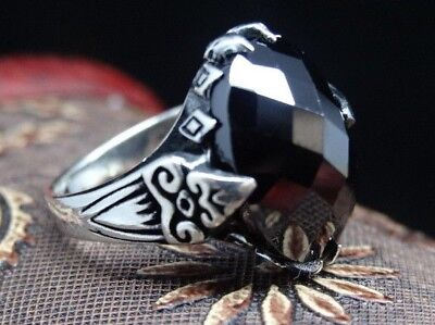 Turkish Handmade  925 Sterling Silver Onyx Mens Ring Sz 11 Free Resize