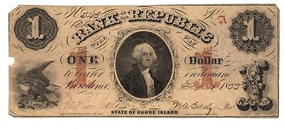 Rhode Island, 1855 $1 Bank of the Republic, Obsolete Note - VG !!