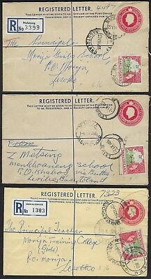 Basutoland Uk 1953 Three Uprated Registered Letters Mafe King Leribe & Mohale Sh