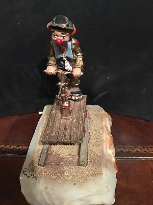 Ron Lee Hobo Clown Sculpture On Train Cart Vintage 1980