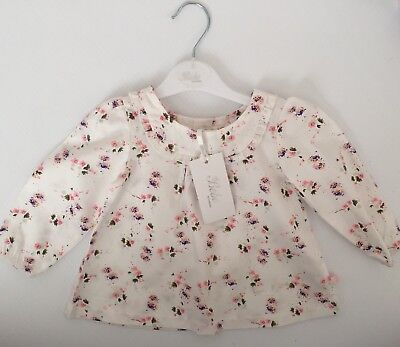 Bebe Girls Top Sofie Print Long Sleeved Blouse 9 Months 6-9 Months 0 BNWT