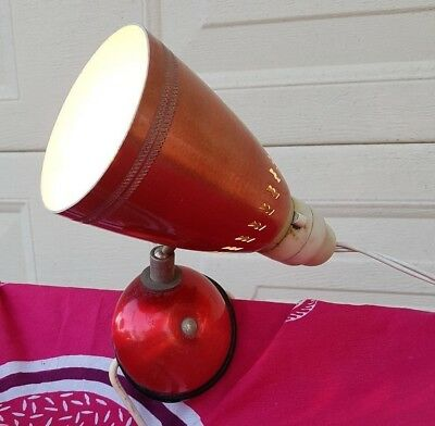 Retro Shiny Pink/red Anodised Clip On Bed Reading Light