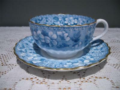 ANTIQUE SPODE COPELAND FLUTED CUP & SAUCER - BLUE & WHITE - 1800's - FAIR COND