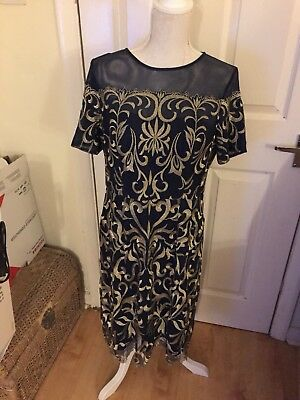 Never worn size 16 kaleidoscope Navy blue and gold embroidery below knee dress.