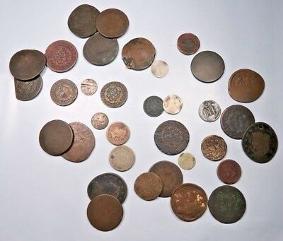 (34) Mixed US Coin Lot ~ Large Cents+2C+3C+IH+1/2 Cent+Shield Nickel+1/2 Dime