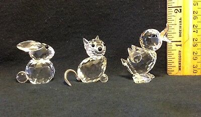 Swarovski Crystal Figurines, Lot of 3 - Bunny Rabbit, Cat with wire tail, Duck