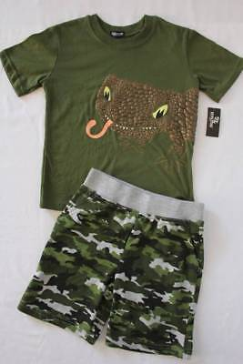NEW Boys 2 pc Outfit Size 7 T-Shirt Green Camouflage Shorts Set Lizard Reptile