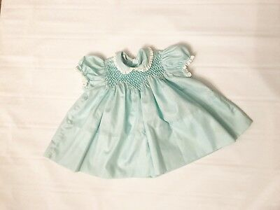 Vintage Blue 12 Months Polly Flinders hand smocked 1950-1960's Children's Dress
