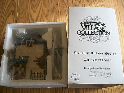 Dept 56 Dickens' Village Series Walpole Tailors 5926-9 1988 Nice With Cord