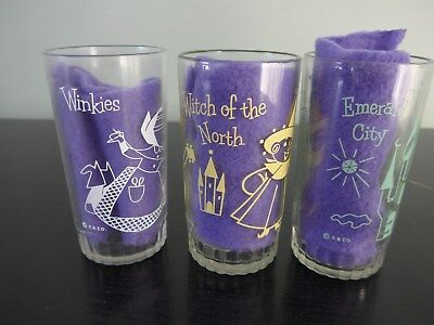 3 Wizard of Oz glasses by S & Co Swift's Peanut Butter Witch Winkie Emerald City