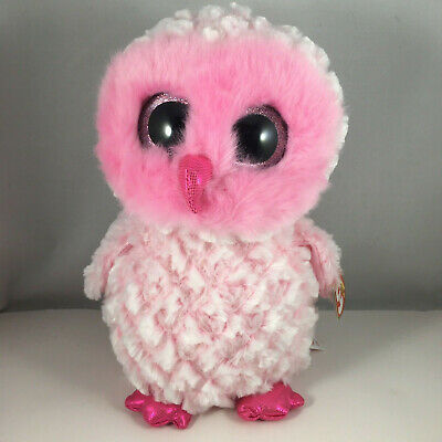 "Ty Beanie Boos 9"" Medium Twiggy the Owl Stuffed Animal Plush MWMT's Heart Tags"