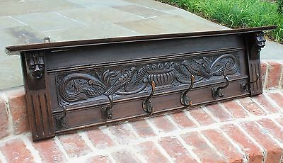 Antique English Oak Renaissance Wall Shelf Coat Hat Copper Pot Rack Lions LARGE