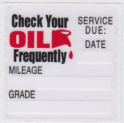 100 Static Cling Oil Change Reminder Stickers Decals ~ Free Shipping ~
