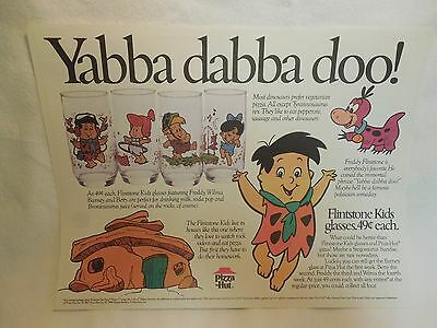 Pizza Hut Paper Placemat Flintstone Kids Yabba Dabba Doo! Glasses .49 price 1987