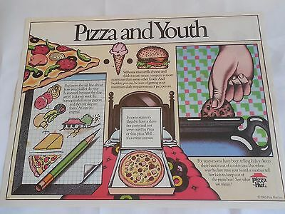 "Pizza Hut Placemat ""Pizza and Youth"" w Care Bear Puzzles Unused 1985"