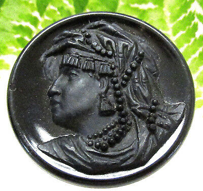 "Stunning Victorian Black Glass Picture Button ""zenobia Queen Of Palmyra P57"
