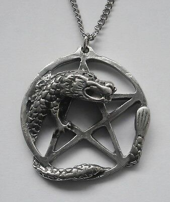 Chain Necklace #1372 Pewter PENTAGRAM with DRAGON (33mm x 31mm)