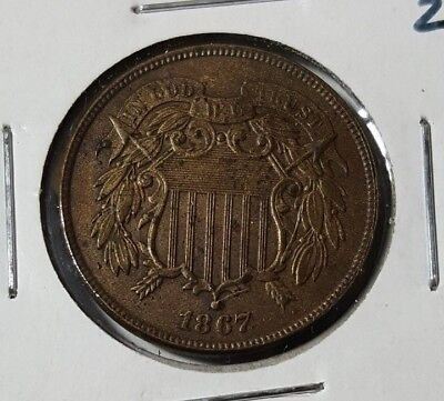 1867 2C Two Cent Piece with Large Motto - Great coin in AU/MS condition