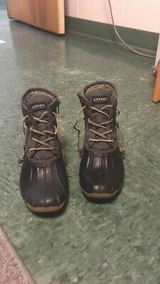 SPERRY TOP-SIDER SALTWATER Black Quilted Duck Boots Womens Size 5 ... 47bbb0fec177