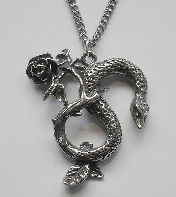 Chain Necklace #1474 Pewter SNAKE & ROSE (29mm x 26mm) SERPENT GOTH