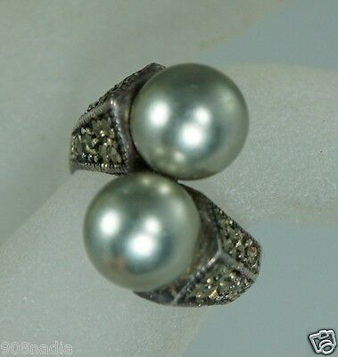 Vintage Sterling 925 Silver,faux Tahitian Pearl,marcasite Ring Size 6