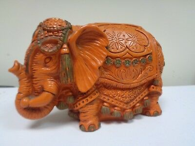 Vtg India/Circus Elephant Bank Universal Statuary Corp. 1967 #420 Orange/Brown